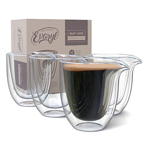 Easy Pour Espresso Cups Set of 4 - Clear Insulated 2.6oz Espresso Shot Glasses - Double Wall Espresso Cups Sets - Demitasse Glass Espresso Cup for Coffee, Tea Lungo Mugs - Espresso Machine Accessories