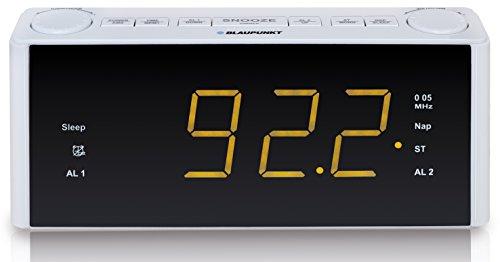 BLAUPUNKT CLR 180 WH Uhrenradio mit Wecker, AUX-IN, Stereo PLL FM-Lautsprecher, 2 Weckzeiten, Snooze-, NAP und Sleep-Timer weiß