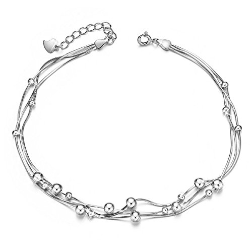SHEGRACE Delicate Bracelet de Cheville avec Trois Chaine Femme en Pur Argent 925 Sterling,Orenemnt des Perles Petits Simple,Platine