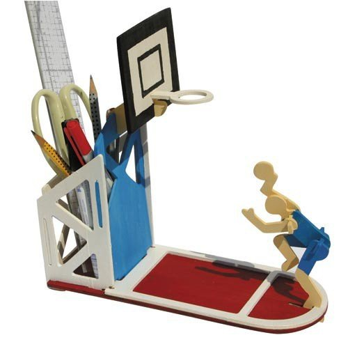 matches21 3D Stiftebox Basketball Stiftehalter Holz Bausatz 20x22 cm Kinder Bastelset - Steckbausatz & Bemalen - ab 6 Jahren