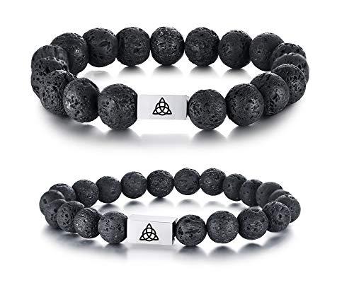 VNOX Irish Love Celtic Knot Natural 8MM&10MM Set Lave Rock Stone Essential Oil Diffuser Beaded Stretch Bracelet