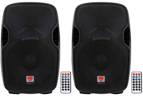 "(2) Rockville BPA15 15"" Professional Powered 800 Watt DJ PA Speakers w Bluetooth"