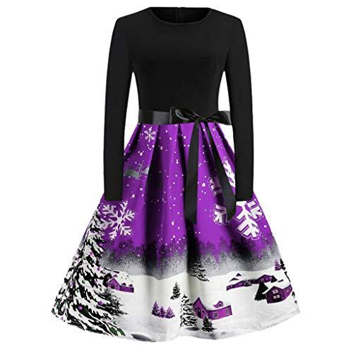 LILIHOT Damen schöne Festliche Kleider Weihnachten Elegant Cocktailkleid Blumendruck Langarm Partykleider A-Linie mit Rundhals 50er Jahre Rockabilly Kleider