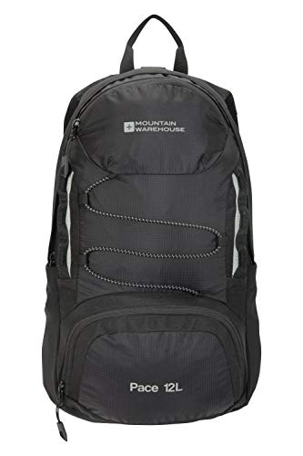 Mountain Warehouse Pace 12L Rucksack - Lightweight Backpack, Hydration Compatible Small Rucksack, Ripstop, Padded Airmesh Back, Webbing Trim - For Men & Women Black
