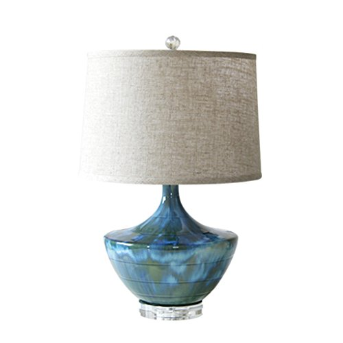 HAIYING Tischlampe Mid-Century Blau Keramik, Wohnzimmer Und Schlafzimmer Neben Tischlampen