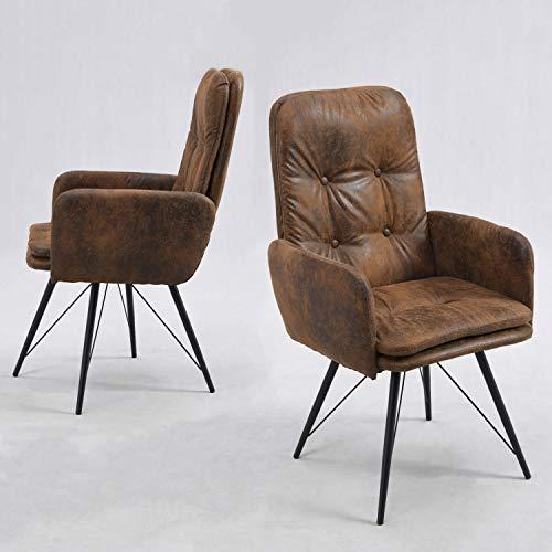 Esszimmerstühle 2er Set mit Armlehnen drehbar, gepolster Drehstuhl, Vintage Armlehnstuhl, Armsessel Esszimmerstuhl Retro, Design Stuhl, Polsterstuhl in Wildleder Optik, B&D home