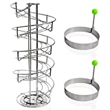 Brentmoor Rotating Spiral Egg Skelter Dispenser Rack for 3 Dozen Eggs Complete with Round Non-Stick Pancake Cooking Rings