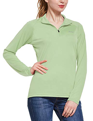 BALEAF Women's UPF 50+ Sun Protection T-Shirt Long Sleeve Half-Zip Thumb Hole Outdoor Performance Workout Tops Sage Size L