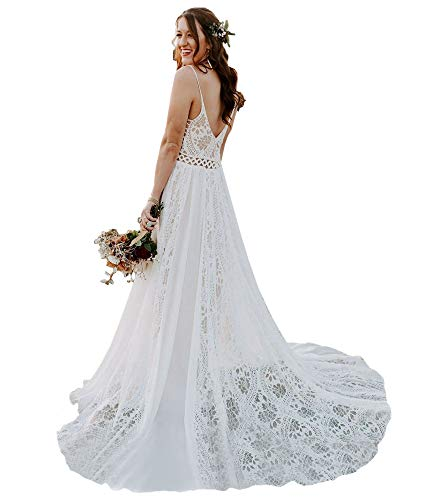 LIPOSA Bohemian Wedding Dresses Spaghetti Strap Backless Lace Beach Bridal Gowns with Train(Picture Color,US2)