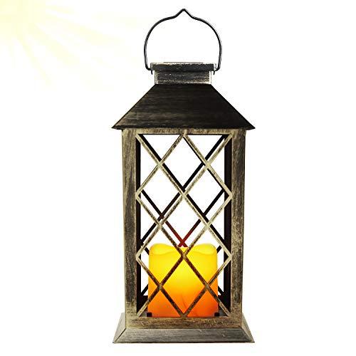 EXLECO Solar Lantern Gartenlaterne Laternen für Draußen mit Kerze und Flammen-Effekt für Draußen-Deko, Garten, Korridor, Hof Solarlampe [Energieklasse A+]