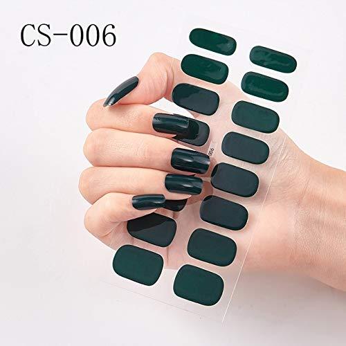 JSZWGC 1 Feuille Nail Art Autocollant Double terminé Adhésif Pur Solide Couleur Cover Strips Bricolage Mode Autocollants Manucure (Color : CS006)