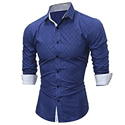 cea87bb283 FUNIC Men's Summer Fashion Printing Tee Tops, Turn-down Collar Long-sleeved  T-shirts (Medium, Blue)