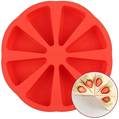 AILEHOPY Scone Molde Pan, 8 moldes redondos de silicona para tartas, pan, rebanadas, brownie, pizza, pan de maíz, 1 pieza roja