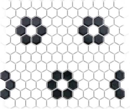 Mozaïek tegel keramiek Hexagon zwart wit mat tegelspiegel keuken MOS11A-0103_f | 10 mozaïekmatten