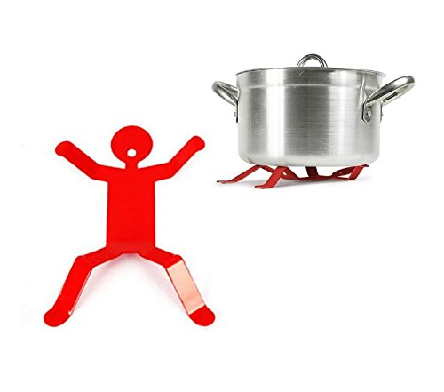 Iron Hotman Topfuntersetzer mit Untersetzer – Lustiger kleiner Junge Hotman Dural Metall Pfannen-Halter oder Hot Pot Halter für Küche