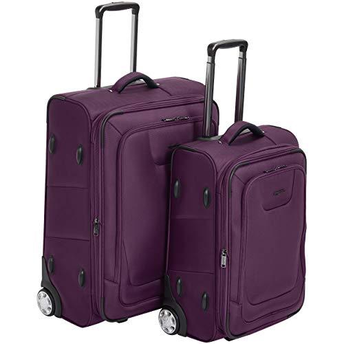 Amazon Basics 2 Piece Expandable Softside Luggage Suitcase With TSA Lock And Wheels Set - Purple