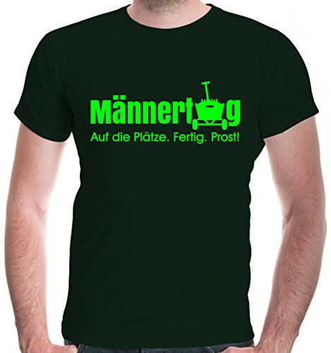 buXsbaum® Herren T-Shirt Männertag Auf die Plätze. Fertig. Prost. | Funshirt Männer Bollerwagen Party | L, Grün