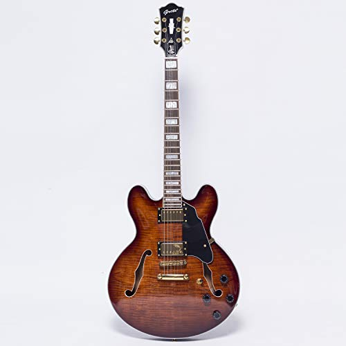 NEW GROTE 335 style Jazz Electric Guitar Flame Maple top Semi-Hollow Body Gold Hardware (brown)