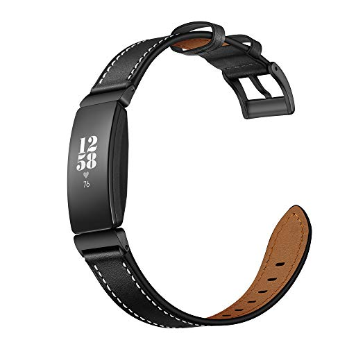 Elobeth Compatible with Fitbit Inspire Bands & Inspire HR Band Leather Inspire 2 Band Fitness Tracker Replacement Accessories Band Women (Black 5.5'-8.1')