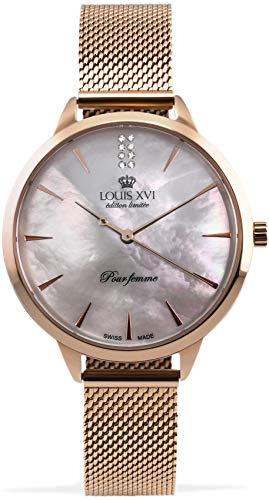 LOUIS XVI Dauphiné 1030 - Reloj de pulsera para mujer (correa de acero, oro rosado, nácar, analógico, cuarzo, acero inoxidable, malla 1030)