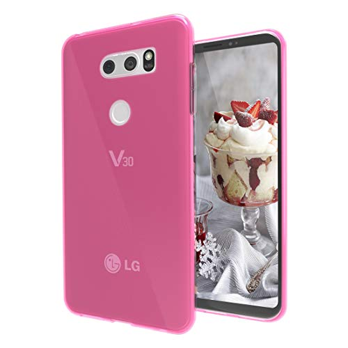 LG V30/LG V30 Plus/LG V30S ThinQ/LG V35/LG V35 ThinQ Case,Slim Thin Silicone Soft Skin Flexible TPU Gel Rubber Bumper Anti-Scratch Shockproof Protective Case Cover for LG V30,Crystal-Pink