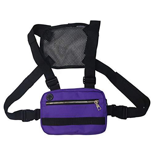 XINYIND XYDZ Pecho Rig Bag Función Hip Hop Ajustable Táctico Bolsas Riñonera Streetwear Riñoneras Hombro Cruzada Paquetes de Cintura Funcionales Bolsa de Accesorios Teléfono Móvil Unisex - Púrpura
