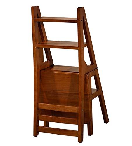 Leiter Hocker Klappbarer Leiterstuhl Volles Massivholz Montage Aufsteigen 4 Stufen Hocker Multifunktion Sessel, 90 Cm Hoch