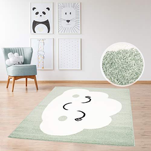 MyShop24h - Alfombra infantil de pelo plano, diseño de nube alegre, color verde menta, azul petróleo, beige y rosa