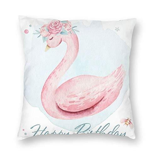 Nixboser Funda de almohada de poliéster con diseño de cisne y acuarela, color rosa, verde y pequeño globo, para decoración del hogar, para sofá, sala de estar, cama, coche, 40,6 x 40,6 cm