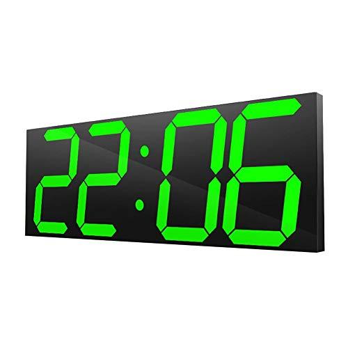Ymiko Orologio Digitale a LED Grande, Orologio da Parete per Uso Domestico Orologio elettronico a Specchio Digitale a LED 100-240 V con Telecomando (Spina Americana)(Verde)