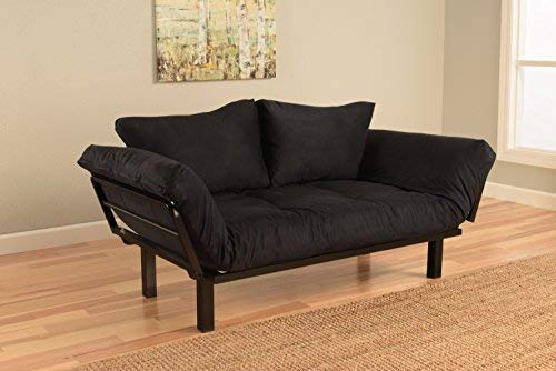 Best Futon Lounger Sit Lounge Sleep Smaller Size Furniture is Perfect for College Dorm Bedroom Studio Apartment Guest Room Covered Patio Porch. Key Kitty Key Chain Included. (Black)
