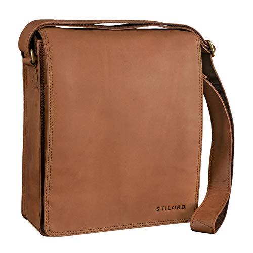 STILORD 'Lars' Vintage Umhängetasche Leder Herren für 13,3 Zoll Tablet MacBooks und iPad Schultertasche Herrentasche Messenger Bag Echtleder, Farbe:Sattel - braun