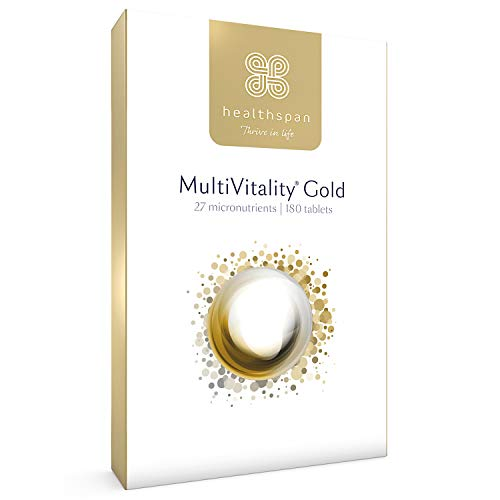 MultiVitality Gold | Healthspan | 27 Micronutrients | Multivitamin with Iron | Vitamin B12 | Vitamin D | Calcium | Zinc | Vegetarian (180 Tablets)