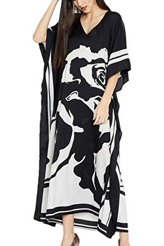 L-Peach Damen Baumwolle Kaftan Langes Kleid Kimono Maxi Strandkleid Bikini Cover Ups