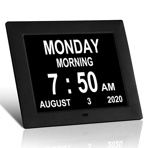 LaMi 7.5 Inch Digital Calendar Day Date Clock - 12 Alarm Options,Extra Large Non-Abbreviated Day&Month Memory Loss Clock for Seniors,Dementia,Impaired Vision (Black)