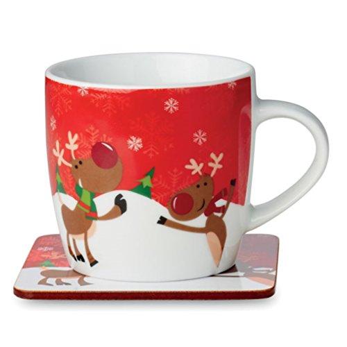 sin4sey Kaffeebecher Kaffeetasse Teebecher Teetasse im weihnachtlichen winterlichen Design (Rentier)