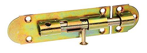 GAH-Alberts 124083 Grendelriegel mit Knopfgriff und ohne Feder, galvanisch gelb verzinkt, Platte: 100 x 30 mm, Bolzen: Ø8 mm