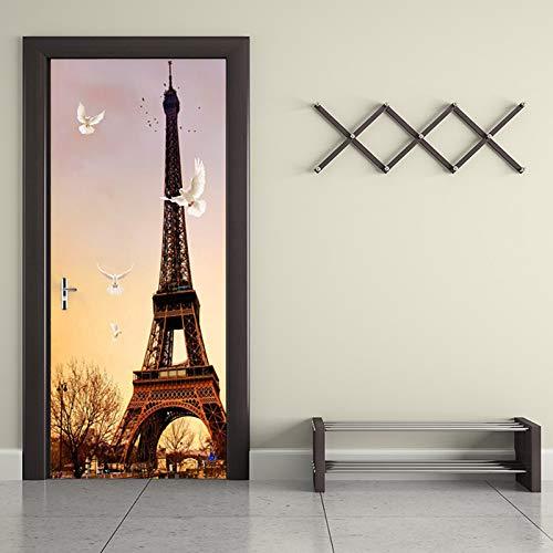 Vinyl deur muurschildering deur behang 77X200cm Eiffeltoren 3D-deuren renoveren zelfklevende decoratieve waterdichte muurstickers voor slaapkamer toilet wooncultuur 95x215cm
