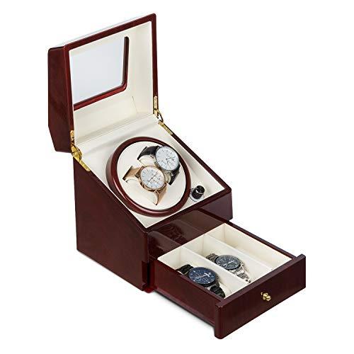 Klarstein Geneva - Uhrenbeweger, Uhrendreher, Uhrenbox, 4 Automatikuhren, 4 Modi, Links- oder Rechtslauf, Schubfach, Rosenholzoptik