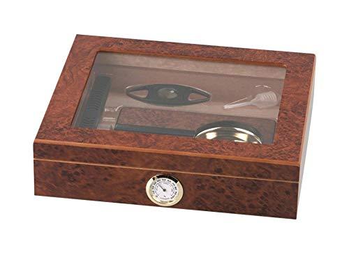 kogu Humidor Set Wurzelholz, zum Lagern von ca. 15 Zigarren, inklusive Acrylpolymer-Befeuchter, Abschneider, Aschenbecher und Hygrometer