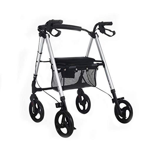 Carrito de Compras Carrito para Ancianos Scooter Carrito Plegable Remolque de Aluminio Andador Carrito de Compras Viejo Silla de Ruedas Multiusos