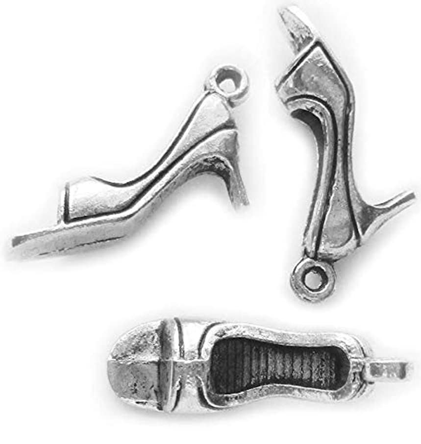 Heather's cf 30 Pieces Silver Tone high-Heeled Shoes Beads DIY Charms Pendants high-Heeled Shoes