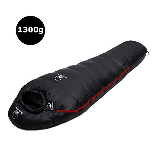 Sport im Freien Winter Ultra Thermal Erwachsene Mama 95% weiße Gänsedaunen Schlafsack Sack W/Kompressions-Satz for Backpacking Camping Wandern (Color : 1300g Black)