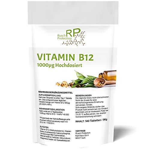 Vitamin B12 Tabletten Hochdosiert und Vegan - 540 Stück - Großpackung zum Einführungspreis, Aktives Methylcobalamin - die natürliche Form für den Körper, Hochwertiges Supplement - Top Qualität