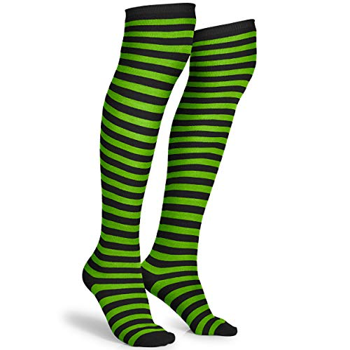 Skeleteen Black and Green Socks - Over The Knee Striped Thigh High Costume Accessories Stockings for Men, Women and Kids