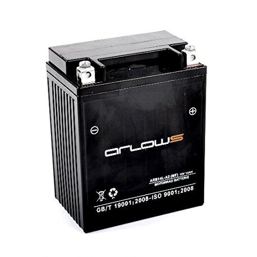 Arlows Gel Batterie ARB14L-A2 wie YB14L-A2 12V Akku 14Ah Motorradbatterie
