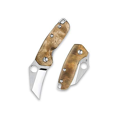 KUBEY DM065 Klappmesser Mini Messer Klein Taschenmesser mit Holzgriff, 4,0 cm Klinge