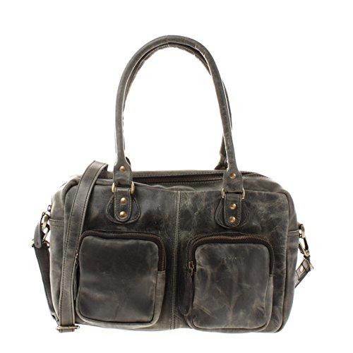 LECONI Schultertasche aus Rinds-Leder Henkeltasche Damentasche für Shopping, Arbeit und Freizeit Used-Look Damen Natur Handtasche Frauen Ledertasche 33x21x9cm grau LE0046-wax
