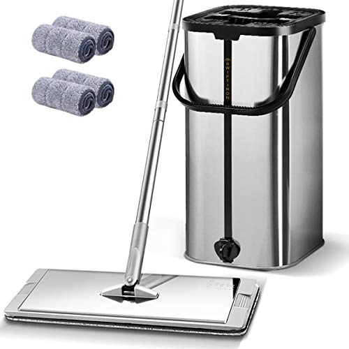 Silver Mop and Bucket Set Squeeze Flat Floor, Stainless Steel Bucket Mop and Handle Adjustable, 4 Washable Reusable Mop Pads,Professional Commercial Floor Cleaner Bucket Mops for Floor Cleaning