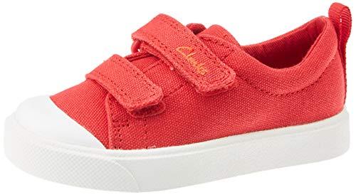 Clarks City Bright T, Zapatillas Unisex Niños, Rojo (Red Canvas Red Canvas), 25 EU
